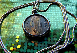 """1966 IRISH LUCKY SIXPENCE PENDANT on an 18"""" White Gold Filled Round Chain"""