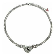 Guess Jewelry UBN71271 Ladies Silver Stainless Steel Crystal Charm Necklace
