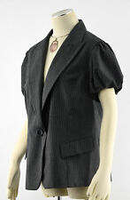 LAFAYETTE 148 NY Gray Striped Single Btn Wool Puff Sleeve Blazer Jacket ~ Sz 16