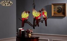 Tiffany Style Parrot Chandelier 5 Light Ceiling Lamp Home Bird Lighting Fixtures