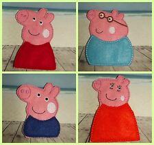 Handmade Finger Puppets - Peppa Pig - Peppa George Mummy Daddy