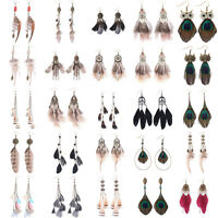 2017 Bronze Dream Catcher Feather Tassel Dangle Hook Bohemian Boho Earrings