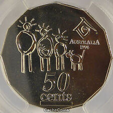1994 50c coin PCGS MS68 Year of the Family Wide Date Australian 50c coin