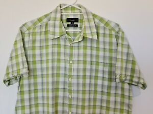 Bossini Extra Large Green White Check Short Sleeve Mens Button Up Shirt XL VGC