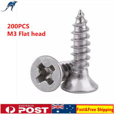 200X M3 304 Stainless Steel Flat Head Self-Tapping Small Screws Assorted Kit KD