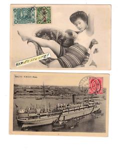 4D China Greeting from Lauschan Kiautschou GIRL +Malta 1914Valetta >MAK Tsingtau