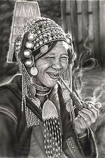 """Thai Charcoal Drawing - Old Woman w/Pipe by Local Chiang Mai Artist -  22"""" x 15"""""""