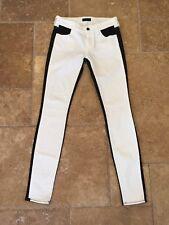 Koral NEW! White w/ Black Color Block Skinny Low Rise Jeans Sz 25 NWOT!