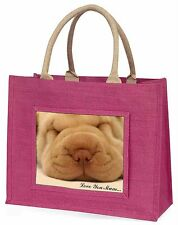 Shar-Pei Puppy 'Love You Mum' Large Pink Shopping Bag Christmas Pre, AD-90lymBLP