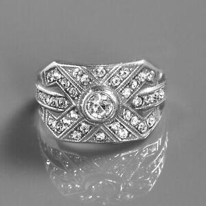 Vintage Art Deco 1 Ct White Round Diamond Engagement Wedding Ring 925 Silver