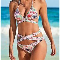 USA Womens Wrap-Around Bikini Swimsuit Bandage Strappy Swimwear Bathing Floral