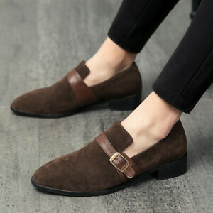 Mens Faux Suede Solid Color Pointed Toe Buckle Straps Business Formal Loafers