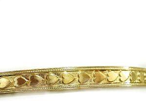 Vintage All around Hearts Bangle Bracelets Real Gold Fille 1-20 14K Love Bangles