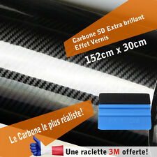 Carbone 5d film covering adhésif thermoformable  réaliste  vernis brillant + 3M