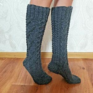Women's Knee-High Knit Socks Gray Sheep Wool HANDMADE Size - 37-38 UK-4-5