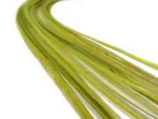 10 Pieces - Solid Olive Thin Long Rooster Hair Extension Feathers
