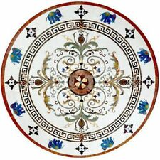 """36"""" Marble round lapis floral inlay semi precious stones Table Top home decor"""