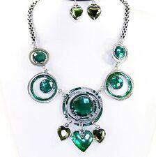Parure collier boucle d'oreille argenté strass émail vert coeur bijoux fantaisie