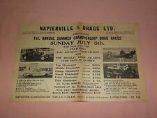 VINTAGE NAPIERVILLE 1/4 DRAGS QUEBEC SPEEDWAY NHRA 2 SIDED PAPER AD RACING  SIGN