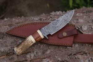 """HANDMADE DAMASCUS STEEL 10"""" HUNTING KNIFE, SKINNER,BUSHCRAF KNIFE, SATG HORN EDC"""