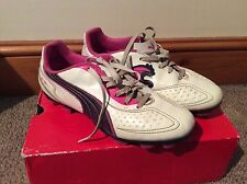 White And Pink Puma V5.11 Fg Junior Football Boots Uk Size 5