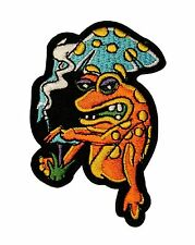 Frog and Cigarette Mushroom Embroidered Iron On Applique Patch