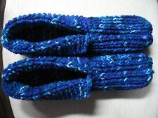 "New Handmade Hs Slippers w/Cuffs Royal Blue Mix Wms 3X Lg Mans 2X Lg 11 1/4"""
