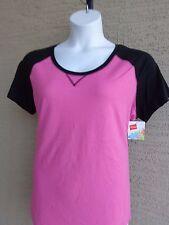NWT Hanes Cotton Blend Raglan S/S Scoop Neck Baseball Tee Shirt XL Pink/Black