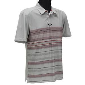 Oakley High Crest Polo Mens M Medium Red Line Grey Golf Casual Regular Tee Shirt