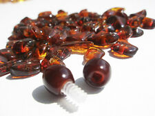 NATURAL BALTIC AMBER HOLED LOOSE BEADS- 65 pcs + 1 PLASTIC SCREW CLASPS