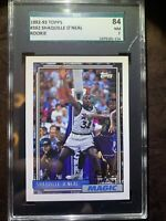 SHAQUILLE O'NEAL 1992 TOPPS SGC 7 NM ROOKIE RC CARD #362 LOW POP