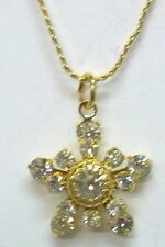 """Christmas Snowflake 18"""" Necklace With 13 Austrian Crystal Stones Made in USA NEW"""