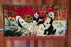 Vintage Swan Velveteen Tapestry Wall Rug with  Pandas