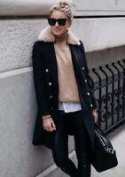 Topshop Black Petite Military Nancy Slim Fur Collar Boyfriend Jacket Coat 4 - 16