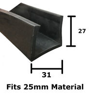 Rubber U Channel Square Edging Trim Seal Fits 24.5 - 25.5mm