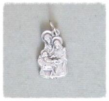 Nativity Christmas Silhouette Holy Medal ITALY Charm Rosary Bracelet Silver M225