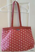 VALDROME Vintage Tote Shoulder Bag Red Print Quilted Floral Pattern French Used