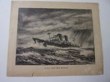 Print of Pencil/Charcoal Picture of USS General William Weigel AP-119 Ship