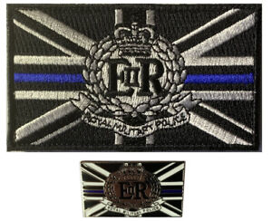 Thin Blue line Royal Military Police (RMP) hook and loop patch/ 25mm pin badge