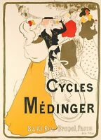 Affiche Originale - George Bottini - Cycles Médinger - Paris - Montmartre - 1897