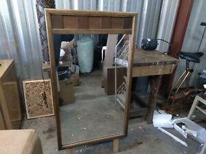 vintage mid century dresser mirror 1966 low 9 drawer wall 45 x 26 danish modern
