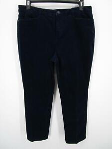 Talbots Women Blue Simply Flattering 5 Pocket Corduroy Straight Leg Jeans sz 16