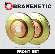 FRONT + REAR BRAKENETIC SPORT Cross DRILLED Brake Disc Rotors BSR77184