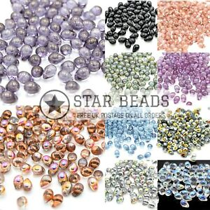 CZECH PRESSED GLASS SMOOTH DROP BEADS - PICK COLOUR & SIZE