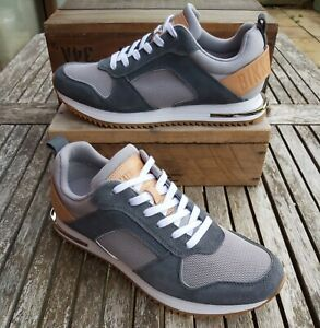 Bikkembergs Hector Men's Designer Suede Trainers, Size 9, Grey / White, RRP £159