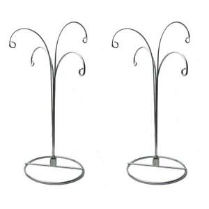 Ornament Display Stand Holder Hook Chrismas with 4 Hanger 2pcs Silver 12inch