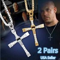 2Pcs Cross Pendant Necklace Stainless Steel Unisex's Chain Crucifix Men Women US