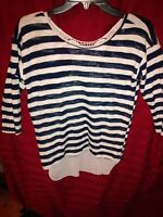 Almost Famous 3/4 Sleeve Tunic Top Navy Blue/Wht Lace Boutique Style Knit XS