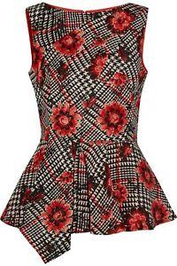 Oscar de la Renta Black White Red Floral Print Sleeveless Peplum Top Size 12