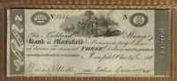 $3 Bank of Mansfield Ohio 1816 Note Crisp Obsolete Bill Richland Huron Jamison